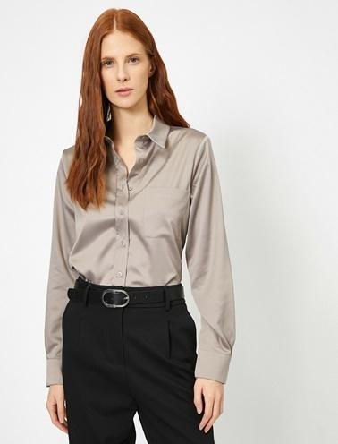 Koton Cep Detaylı Gömlek Gri